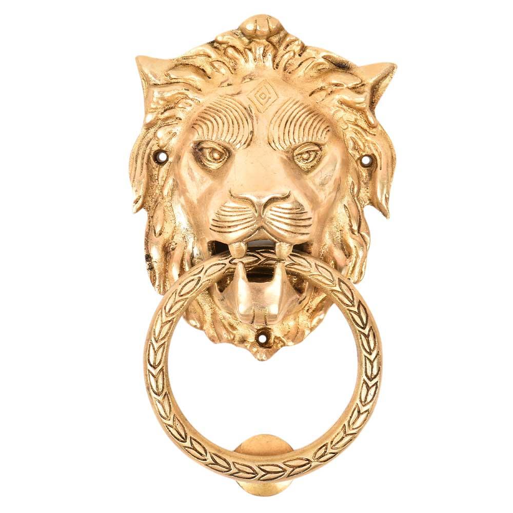 Handmade Brass Lion Head Ring Door Knocker