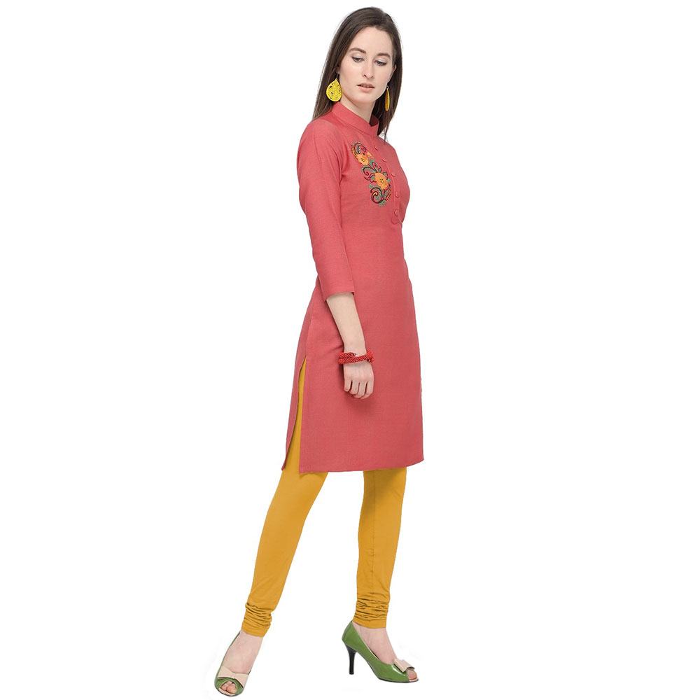 Strawberry Pink Office Wear Stiched Rayon Kurti with Beautiful Embroidery Work