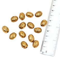 Golden Aluminium Metal  Engraved Design Oval Tone Loose Jewelry Beads (4 in Pack)