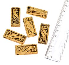 Golden Aluminum Loose Tribal Design Rectangle Cuboid Brick Jewelry Beads (10 in Pack)