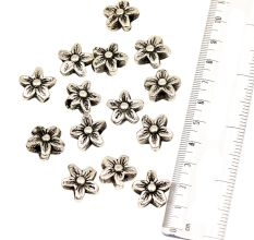 Handcrafted Silver Five Petals Flower Shaped Loose Aluminium Metal Jewelry Beads (12 in Pack)