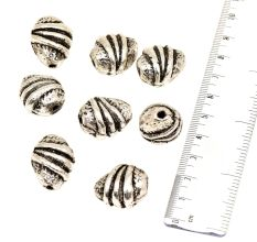 Tribal Silver Nugget Shaped Centre Coil Design Loose Aluminum Metal Jewelry Beads (4 in Pack)