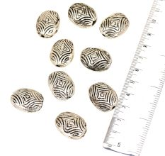 Silver Aluminum Loose Engraved Geometric Design Coin Shaped Jewelry Beads (5 in Pack)