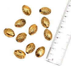 Golden Loose Almond Oval Floral  Spacer Aluminum Metal  Loose Jewelry Beads (10 in Pack)