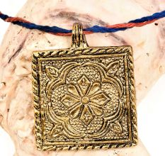 Golden Aluminum Metal  Pendant Square Shape With Flower Carved And Leafy Border
