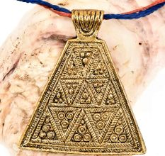 Handmade Golden Aluminum Metal Triangle Pyramid Naga Tribal Pendant Necklace