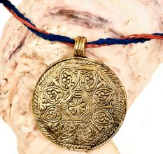Round Engraved Floral Design Golden Aluminum Metal  Tribal Pendant Necklace