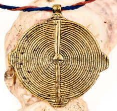 Golden  Aluminum Metal Tribal Spiral Round Disc Pendant Necklace