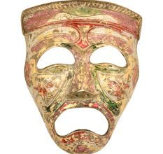 Multicolored Brass Wall Hanging Tragedy Theater Mask