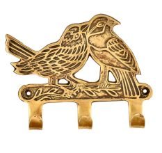 Two Brass Robbins on a Branch Bird with three Hooks