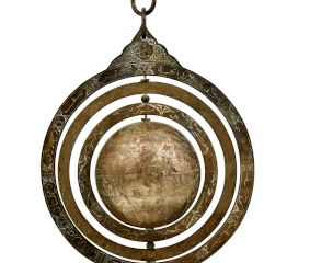 Hanging Solid Brass Celestial Globe Astronomical Armillary With Three Brass Concentric Ring
