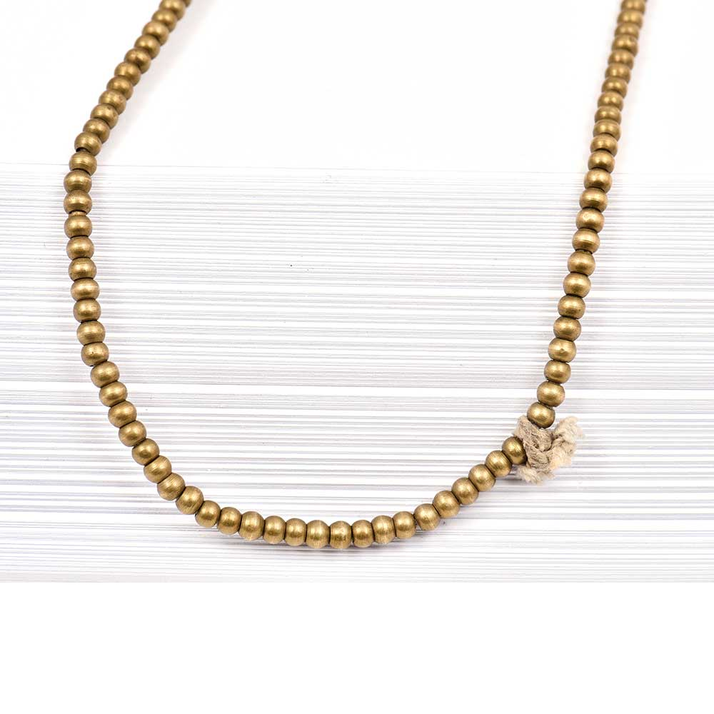 Fashion Jewelry Round Beads Gold Plated Brass Chain for Women And Girls (24 in Pack)