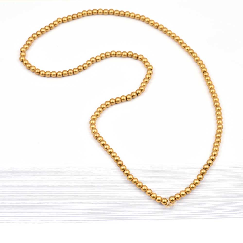 Fashion Jewelry Beads Gold Ball Plated Brass Chain for Women And Girls (12 in Pack)
