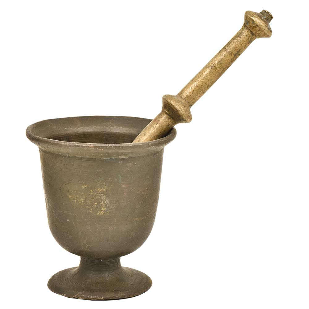 Brass Urn Shaped Mortar And Pestle For Indian kitchen