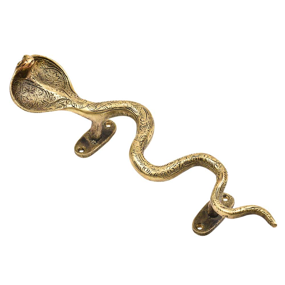 Finely Engraved Floral Pattern Brass Cobra Snake Handle