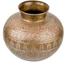 Large Golden Leaves Engraved Border Brass Water Storage Pot Or Lota