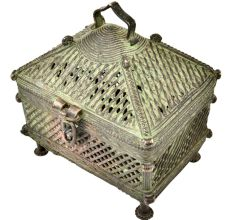 Tribal Jali Hut Brass Jewellery Box