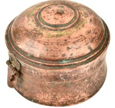 Decorative Copper Round Box with Latch Aged Patina