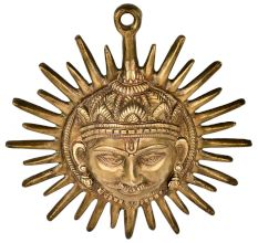 Handmade Brass Sun Face Wall Hanging