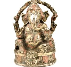 Handmade Siddhi Ganesha Brass Statue Highlighted With Orange Color