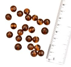 Brown Transparent Ball Round Shaped Handmade Loose Jewelry Making Beads (12 in Pack)