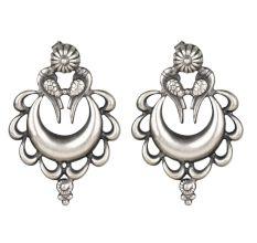 92.5 Sterling Silver Earrings Peacock Crescent Moon Ethnic Stud Earrings