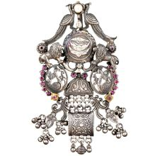 92.5 Sterling Silver Pendant Traditional Motifs Lions, Peacocks, Ducks With Lotus flower In Centre