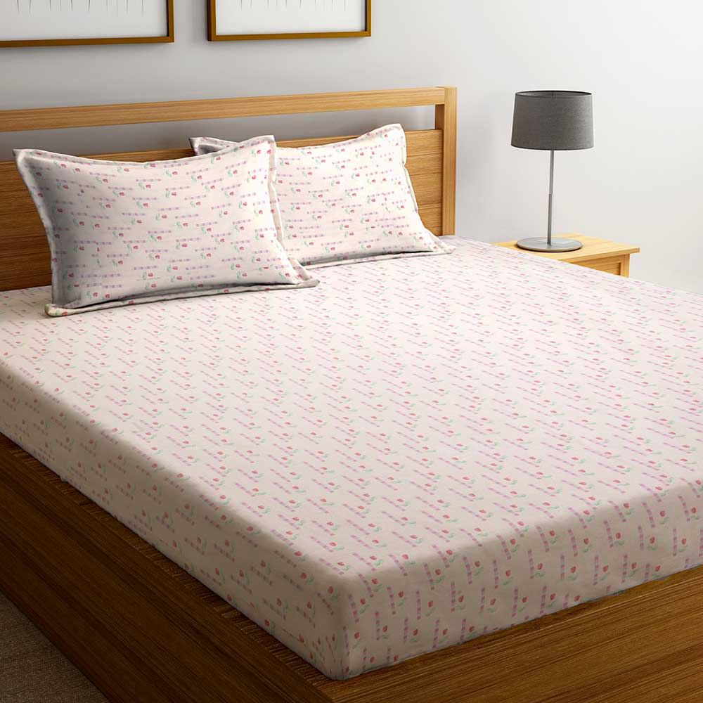Pink Floral 104 TC Cotton 1 Queen Bedsheet with 2 Pillow Covers