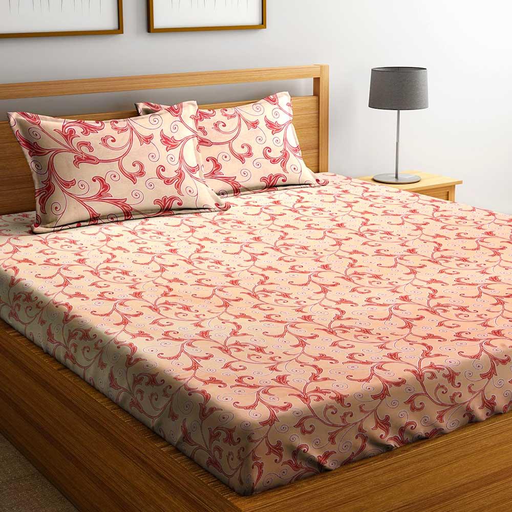 Light Orange Floral Motifs 104 TC Cotton 1 Queen Bedsheet With 2  Pillow Covers