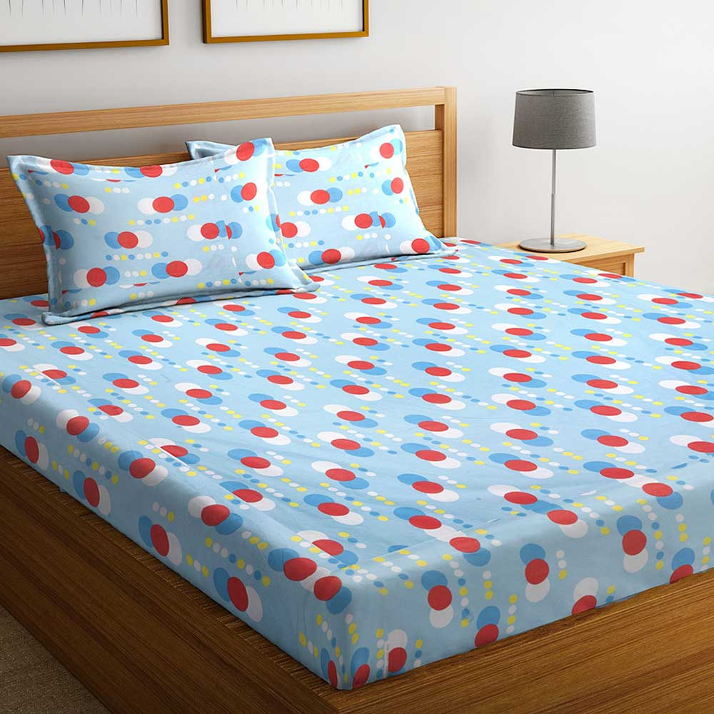 Blue Geometric 104 TC Cotton 1 Queen Bedsheet with 2 Pillow Covers