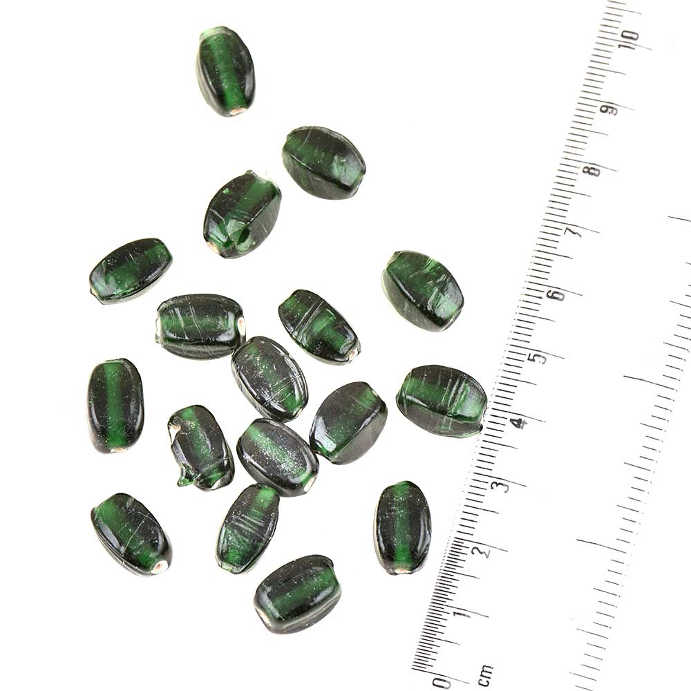 Hunter Green Flat Capsule Shape Hand Made Loose Glass Beads For Making Jewelry (12 in Pack)