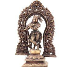Standing Krishna Statue With Floral Prabhavali