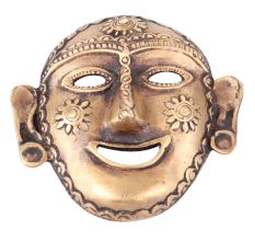 Brass Tribal Wall Hanging Mask Laughing Face Naga Art Lady Head