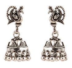 925 Solid Sterling Earring Silver Peacock Jhumkies