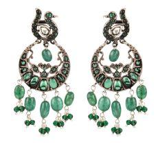 925 Sterling Silver Earrings Ethnic Green Stones Dangle Earrings