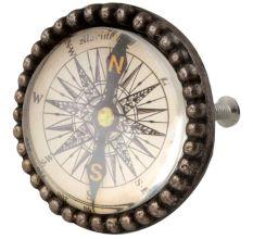 Vintage Compass Inside Round Iron Glass Dresser Knob