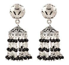 92.5 Sterling Silver Earrings With Pearl And Black Beads Tassel Jhumkas Earrings