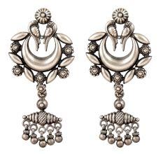 Tribal 92.5 Sterling Silver Earrings with Crescent Peacock Design Dangler Earrings