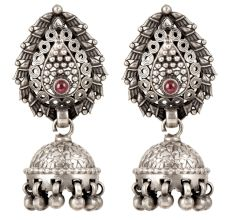 92.5 Sterling Silver Tribal Earrings Red Stone Temple Jewelry Jhumkies