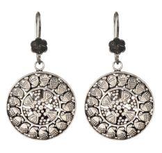92.5 Sterling Silver Drop Earrings Round Engraved Silver Earrings