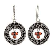 92.5  Sterling Silver Earrings and Red Stone In Engraved Circle