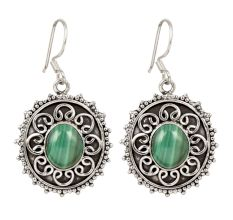 92.5 Sterling Silver Drop Earring With Green Peridot Stones