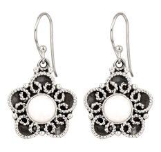 92.5 Sterling Silver Earrings Pearl Flower Drop Earrings
