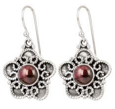92.5 Sterling Silver Earrings Purple Jade Pure Silver Floral Dangle Earrings