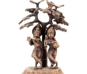 Brass Krishna Playing Flute  And  Radha Carrying Water Pot Under Kadamba Tree