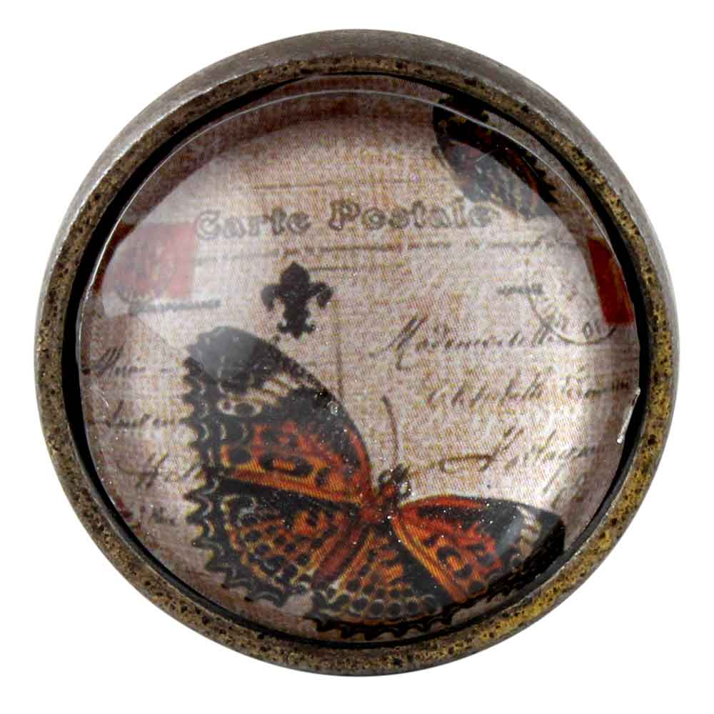 Butterfly Inside  carte postale Round Iron Glass Cabinet Knobs