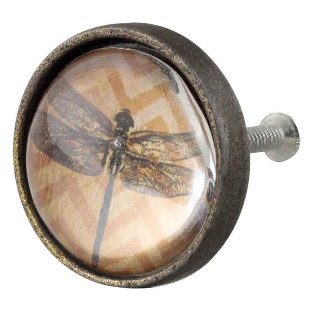 Elegant Dragonfly Inside Round Iron Glass Drawer Knobs