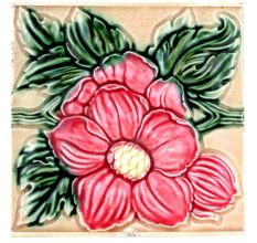 Old Ceramic Tile With Flower Motif