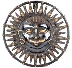Brass Lord Surya Dev Round Wall Art