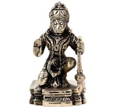 Brass Blessing Lord Hanuman Statue Sitting Position